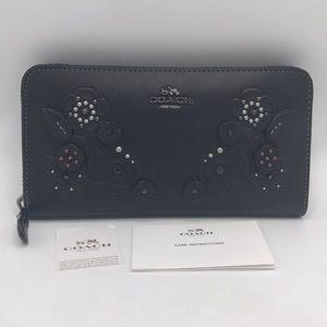 Coach Appliqué Black Leather Zip Wallet